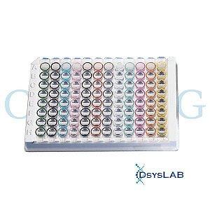 Microplaca Stripwell 96 poços, Poços Destacáveis, PS branco de alta aderência, sem tampa, não estéril, caixa c/100 unid. mod.: 3923 (Corning)