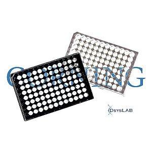 Microplaca 96 poços, Preta, PS, fundo transparente, com tampa, tratada, estéril, unitário, mod.: 3603-UND (Corning)