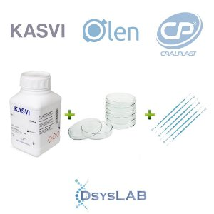 KIT Agar Eosina Azul Metileno (EMB Agar), Levine 500 gr + 200 unidades Placa de Petri 90 X 15mm+ 100 unidades Alça 10 uL, mod.: KIT-DSYS-15 (DSYSLAB)