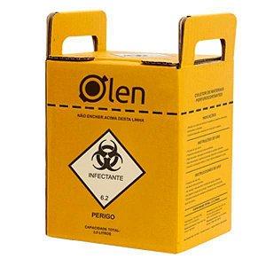 Caixa Coletora para Perfurocortantes, em Papelão Ondulado, Capacidade de 7 Litros, unidade, mod.: K61-7-UND (Olen)