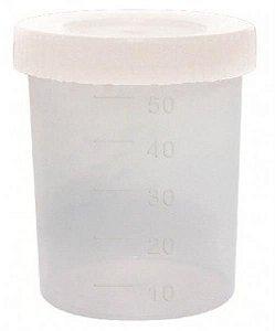 Coletor Universal 50 mL, Com Pá, Não Estéril, Frasco e Tampa Branco Opaco, Não Graduado, pacote com 100 unidades, mod.: CLT50SIMPO-PCT (Cralplast)