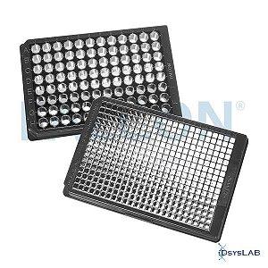 Microplaca 96 poços, com fundo plano transparente e paredes pretas, superfície TCT, com tampa, estéril, Caixa com 32 unidades, mod.: 353219 (Falcon)