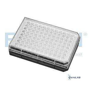 Microplaca de cultura 96 poços, com tratamento TC, fundo redondo, transparente, com tampa, emb. individual, estéril, cx c/50 unid, mod.: 353077 (Falcon)