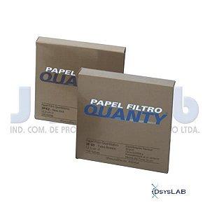 Papel de Filtro Quantitativo, Faixa Branca, Velocidade Filtração Média, 12,5 cm diâmetro, caixa c/100 folhas, mod.: 3503-9 (J.Prolab)