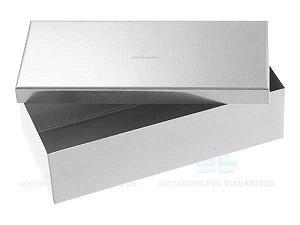 Estojo, Tamanho 20x10x05cm, confeccionado em Aço Inox, mod.: 2023 (FAVA)