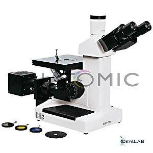 Microscópio metalográfico invertido trinocular, aumento até 1000x, objetivas planacromáticas e iluminação 20W halogênio, mod.: TNM-07T-PL (Anatomic)