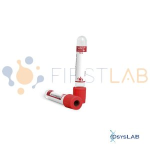 Tubo para coleta á vácuo com ativador de coágulo, 10 mL, plástico, vermelho, rack com 100 unidades FL5-210L (Firstlab)