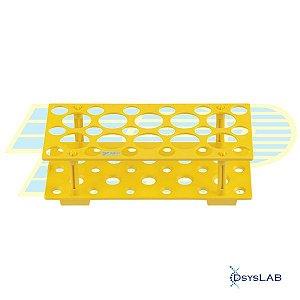 Estante para tubos tipo Falcon, 18x15mL e 10x50mL, PP, cor amarela, autoclavável, unidade, mod.: 99017 (TPP)