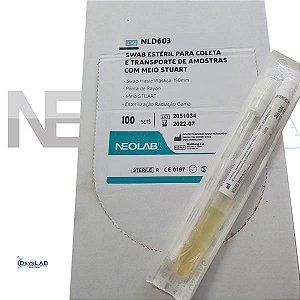 Swab plástico ponta raYon. com Stuart, estéril, caixa com 100 unidades NLD603 (Neolab) (DESCONTO ESPECIAL ACIMA DE 10 CAIXAS)
