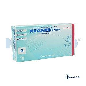 Luva Procedimento Não Cirúrgico, Não Estéril, Nitrilo, Sem Talco, Rosa, Grande, caixa c/1000 unidades 7898949349648 (Nugard)