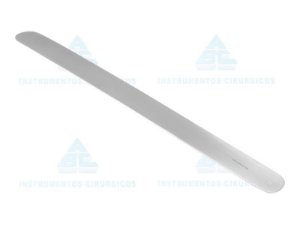 Espatula flexível abdominal, tamanho 300x30mm, confeccionada em Aço Inox 0102 (ABC)