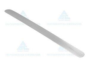 Espatula flexível abdominal, tamanho 300x50mm, confeccionada em Aço Inox 0106 (ABC)