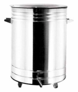 Lixeira Inox Polido com Pedal e Balde 25 x 37,5 cm,  capacidade p/ 12 L (Artinox)