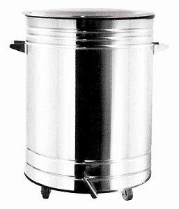 Lixeira Inox Polido com Pedal e Balde 31 x 44,5 cm,  capacidade p/ 20 L (Artinox)