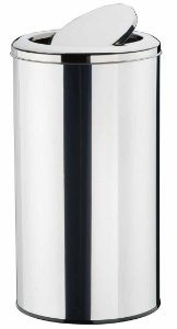 Lixeira Inox Polido com Tampa Basculante 33 x 50 cm,  capacidade p/ 40 L (Artinox)