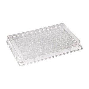 Placa 96 poços Fundo Redondo, 550µL, Transparente, Polipropileno, caixa com 50 unidades. Mod. P-96-450R-C-S (Axygen)