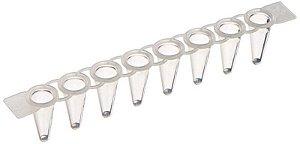 Microtubo de PCR 0,1ml (100ul) em tiras de 8, transparente, sem tampa, Pacote com 125 tiras, mod.: PCR-0108-LP-C-PCT (Axygen)