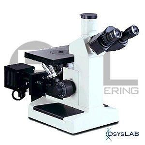 Microscópio metalográfico invertido trinocular com aumento até 1000x, objetivas acromáticas e iluminação 20W, mod.: MTM17T (Bel)