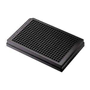 Microplaca 384 poços, Preta, Tratada, fundo chato transparente, estéril, caixa com 50 unidades. Mod. 3542 (Corning)