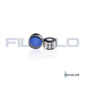 Tampa de rosca 18mm, metal, magnética, abertura de 8mm, septo PTFE/Silicone com 1,5mm de espessura, caixa com 100 unidades BSC18 (Filtrilo)