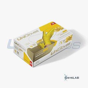 Luva Procedimento Não Cirúrgico, Não Estéril, Látex, Amarela, Pequena, caixa c/100 unidades, mod.: YELLOW-P (Unigloves)