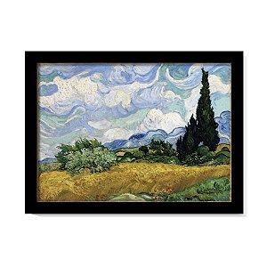 Quadro Campo de Trigo com Ciprestes Van Gogh Obra Com Vidro