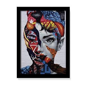 Quadro Decorativo Audrey Hepburn Street Art Poster C/Vidro