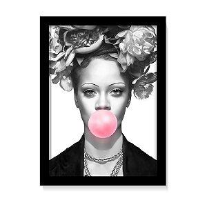 Quadro Decorativo Rihanna Rosas P&B Art Poster