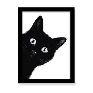 Quadro Decorativo Gato Preto Fofo