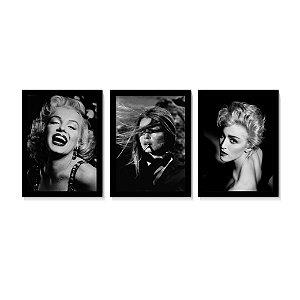 Kit 3 Quadros Marilyn Monroe Brigette Madonna Sala