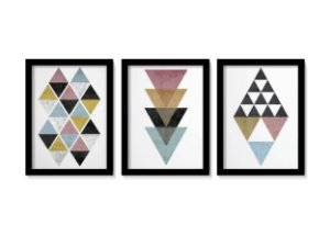 Kit 3 Quadros Geométricos Triângulos Minimalista