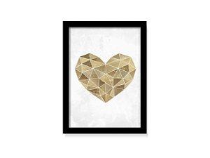Quadro Coração Dourado Geométrico