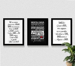 Conjunto Kit 3 Quadros Família, Casa, Amor Frases Motivacionais,