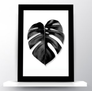 Quadro Folha Tropical Monstera Black & White