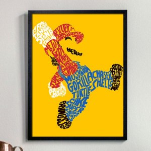 Quadro Mario Bros Typography