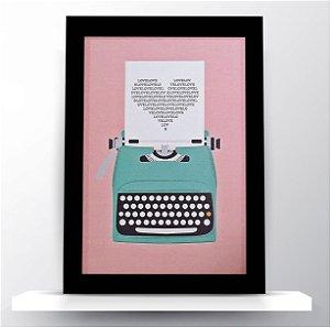 """Quadro Maquina de Escrever """"Love"""""""