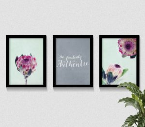 Kit 3 Quadros Protea Flower Be Authentic
