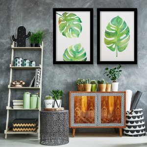 Kit 2 Quadros Pintura Folha Monstera Tropical