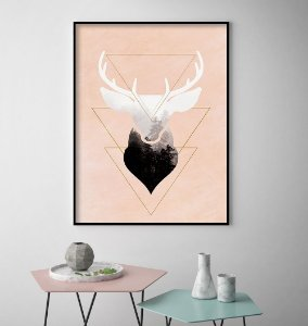 Quadro Cervo Arte Minimalista
