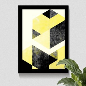 Quadro Geométrico Hexágono Amarelo & Preto