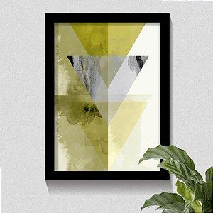 Quadro Triângulo Tons de Cinza & Amarelo