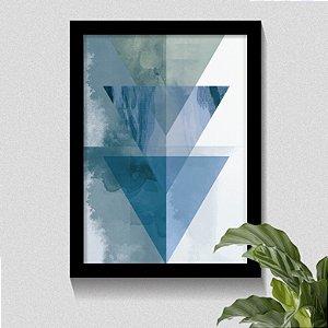 Quadro Triângulo Tons Azul Minimalista