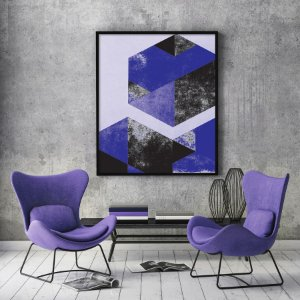Quadro Geometric Diamond Purple Minimalista