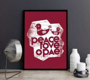 Quadro Peace Love Art
