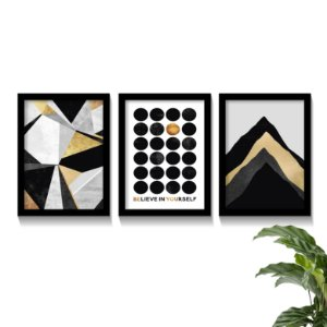 Conjunto Quadros Abstratos Dourado Believe In Yourself