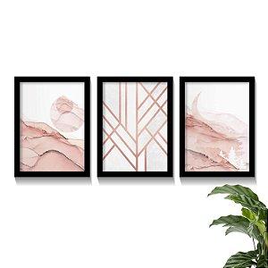 Conjunto Quadros Abstratos Elegance Rose Gold Lines
