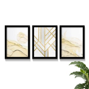 Conjunto Quadros Abstratos Yellow Gold Elegance