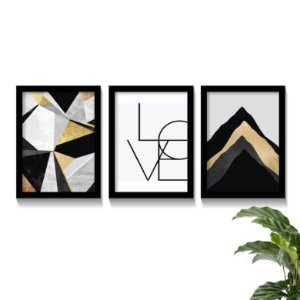 Conjunto Quadros Abstratos Black Gold Love