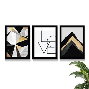 Conjunto Quadros Abstratos Black Gold Love