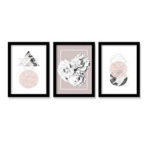 Conjunto Quadros Roses Geometric Art